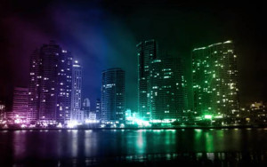 City shimmer with lights
